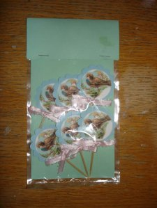Set of Six Birdy Cupcake Toppers (made by me).