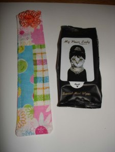 Handmade (by me) Spring bookmark and Holly Golightly wet wipes.