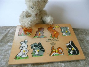 Vintage Wooden Fisher-Price Animals Puzzle