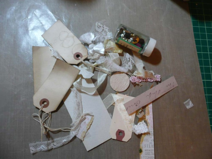 A pile of scraps and left-over supplies my hoarder self could not throw out.