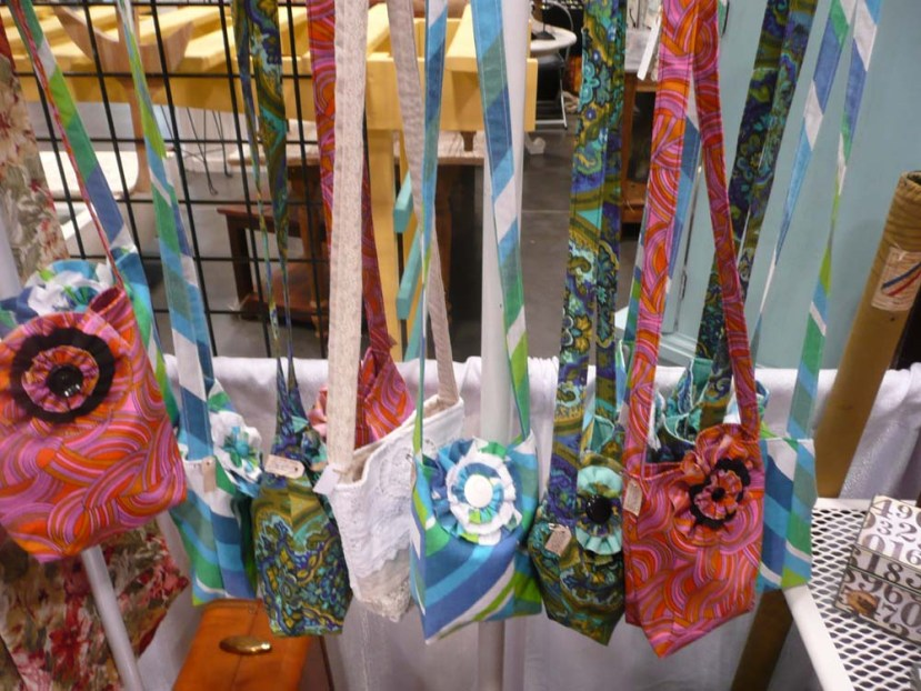 Handmade cross-body bags from vintage fabrics.