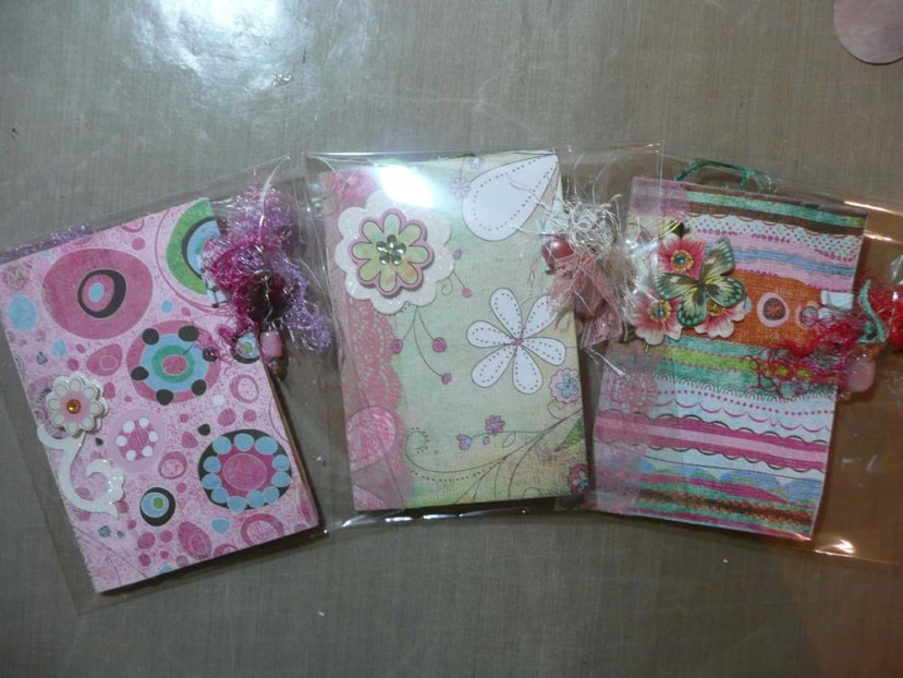 Three mini junk journals for cancer patients.