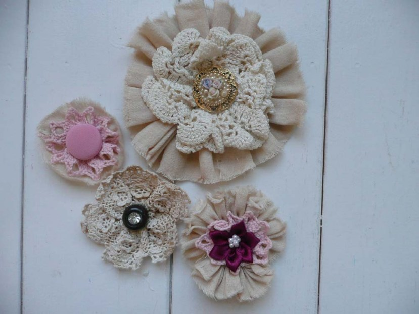 Lace and fabric flowers