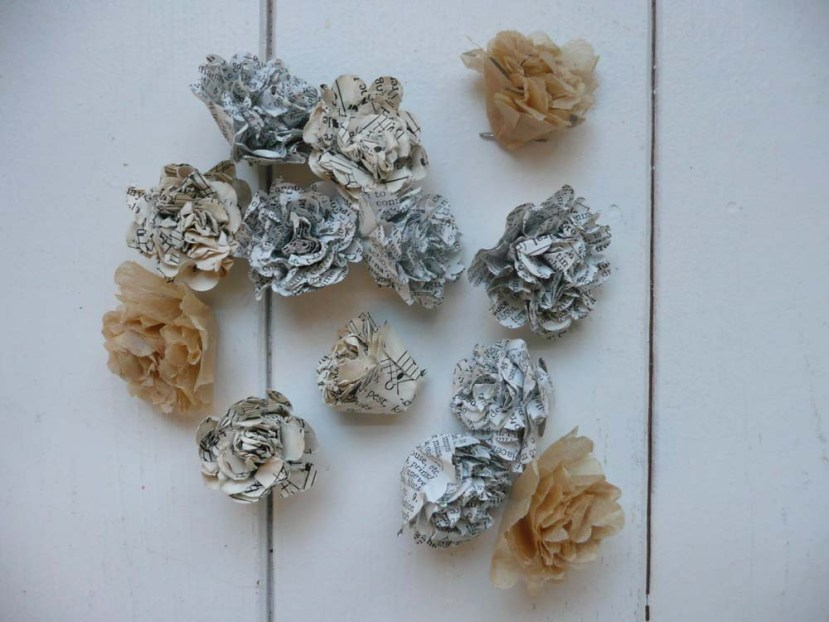 Crumpled paper flowers