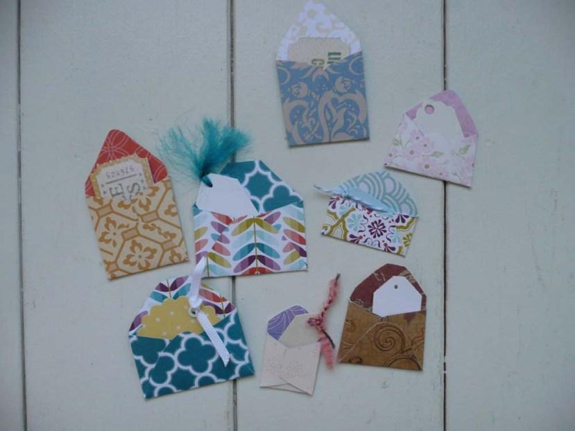 Teeny tiny envelopes with tags