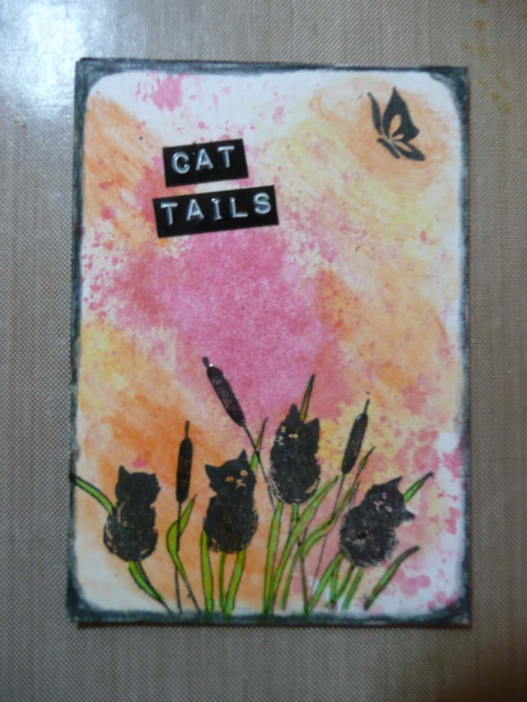 ATC card I made for a challenge. Inspired by Gina b. Ahrens first  UStream video.