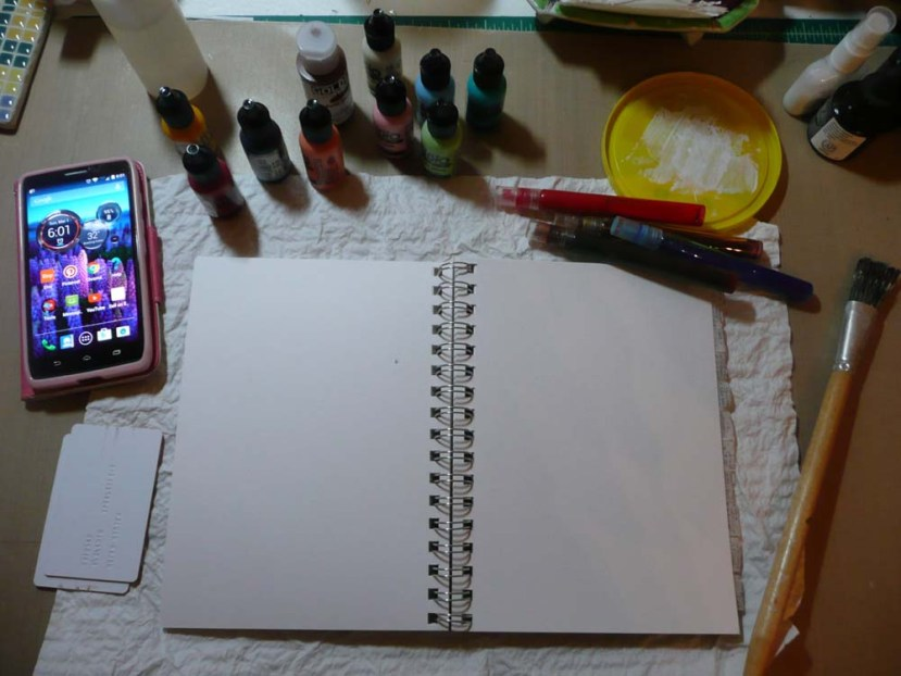 Journal open. Paints and inks at the ready, timer set!