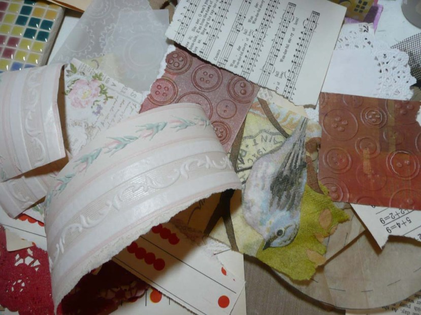 Pile of paper scraps to add for background texture.