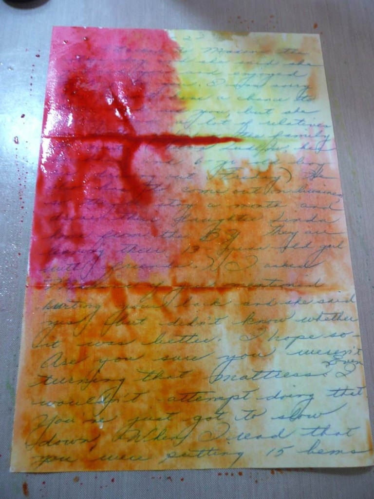 Water color paints on an old letter.