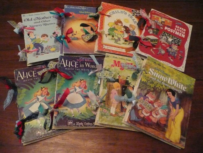 Eight finished junk journals made from old Golden Book covers.