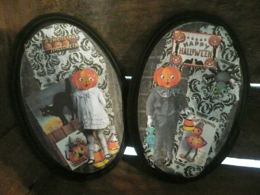 One-of-a-kind collage plaques made by Moss Cottage Vintage.