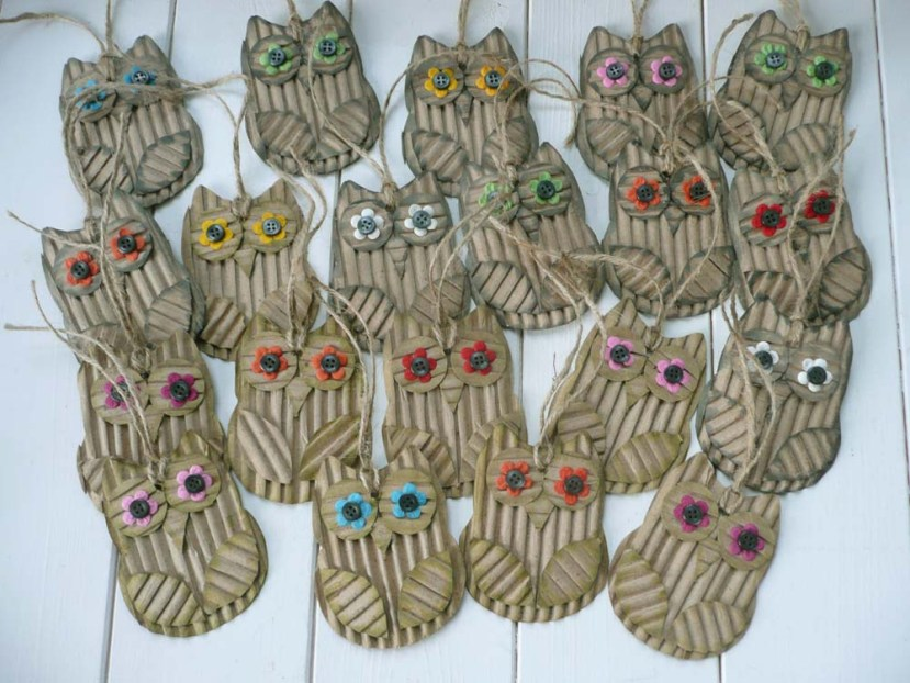 Corrugated cardboard owl hang tags.