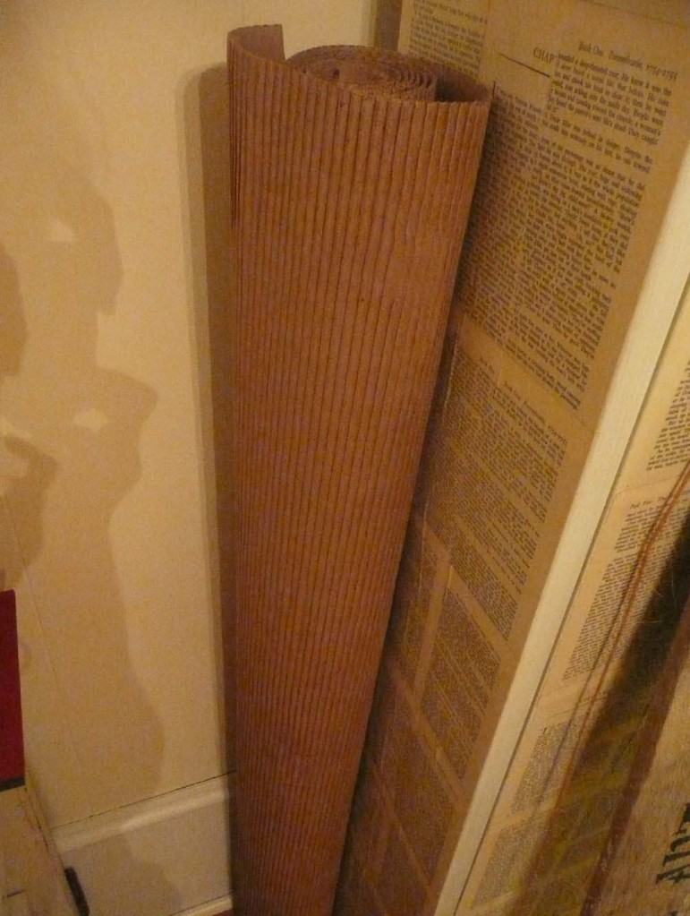 Large roll of corrugated cardboard leftover from home renovation project.
