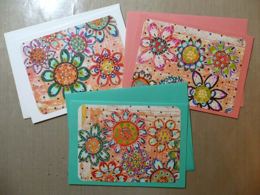 Greeting cards made with my flower artwork paper.