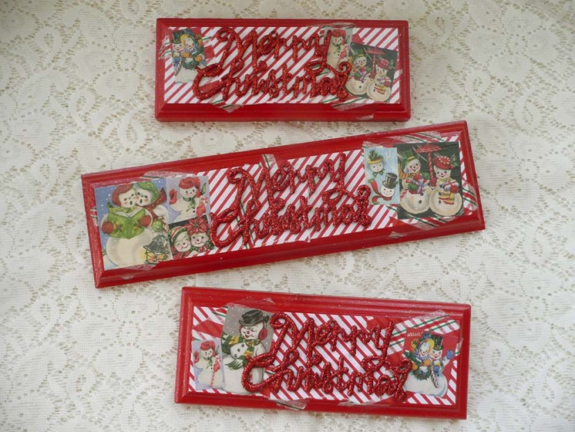 """Snowmen """"Merry Christmas"""" plaques from some blank wood plaques that were languishing in our garage."""