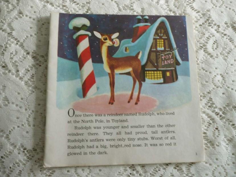 From and old Rudolph The Red Nosed  Reindeer book from a Salvation Army thrift shop.