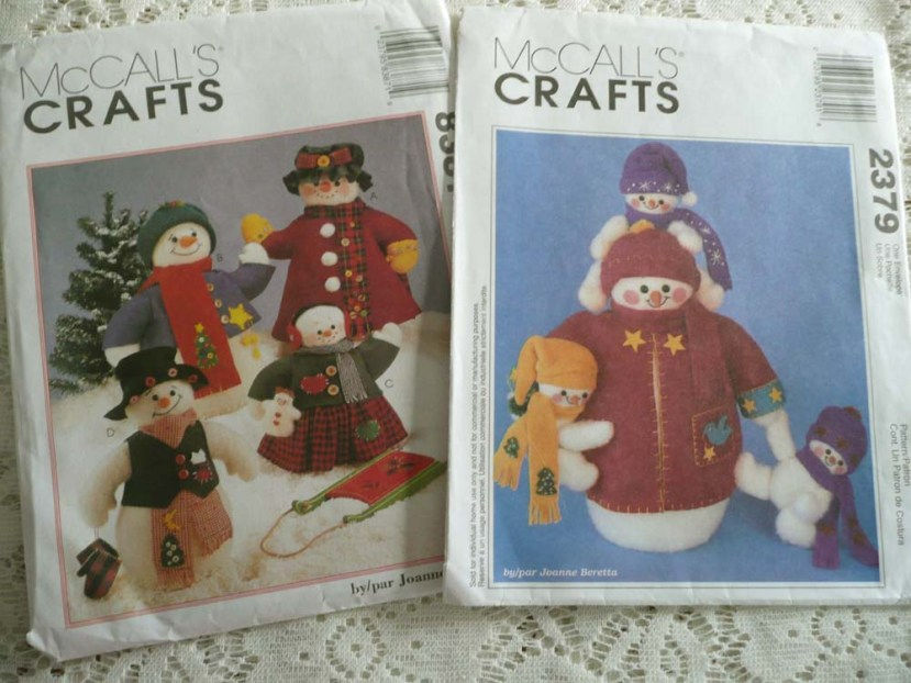 Snowmen plushy patterns from the Goodwill Outlet (by the pound store).