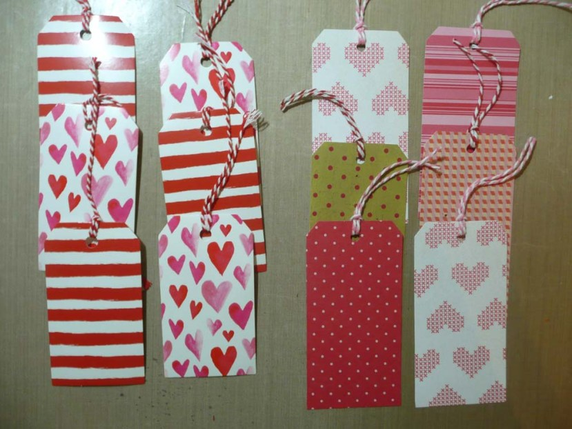 My printed cardstock tags on the right.