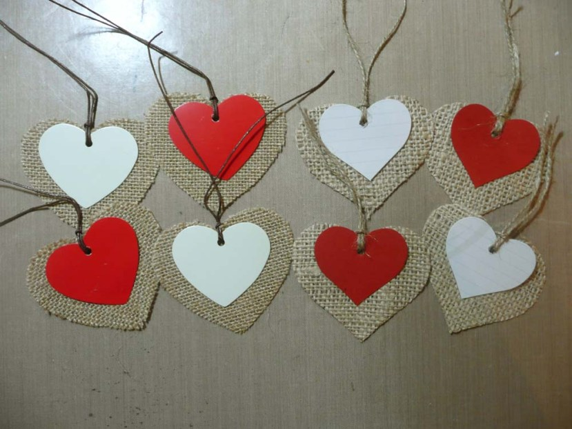 My Two Layered Burlap And Cardstock Tags On The Right.