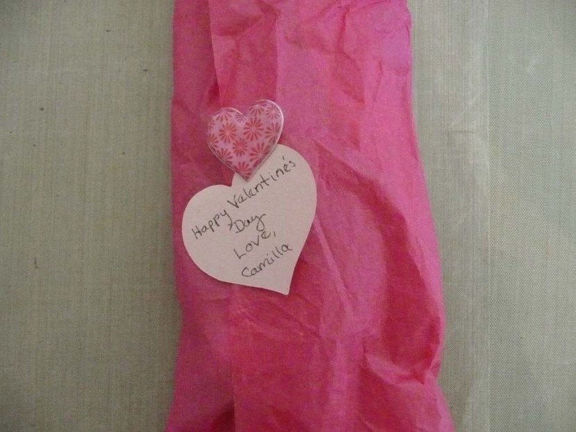 Pretty pink tissue with a special message.