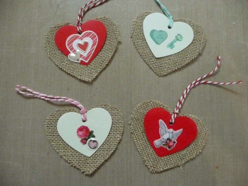 Altered Two Layer Burlap And Card Stock Tags