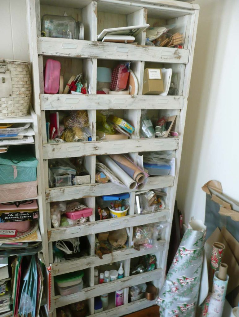 Storage cubby filled with everything imaginable under the sun!