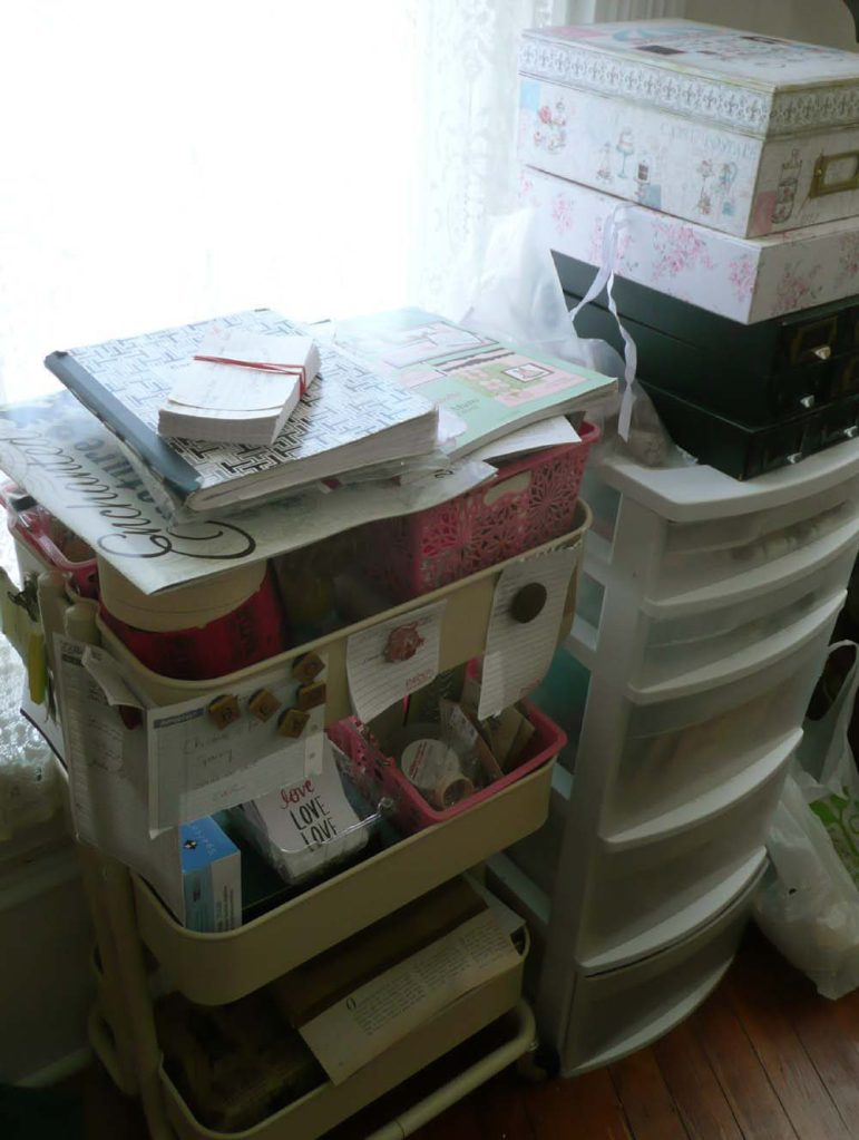 Another Raskog cart filled with Junk Journal fodder and a plastic drawer unit filled with jewelry making supplies.